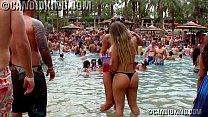 Two sexy Brazilian babes making out in thong bikinis