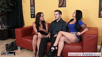 Gorgeous brunettes Katrina Jade and Kayla West share cock