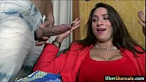 Busty latin shemale Adriana Rodrigues cums while anal reamed