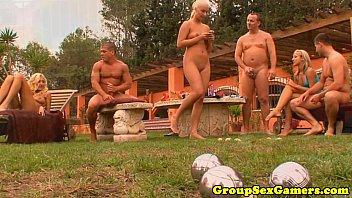Outdoor amateur gets cum on tits