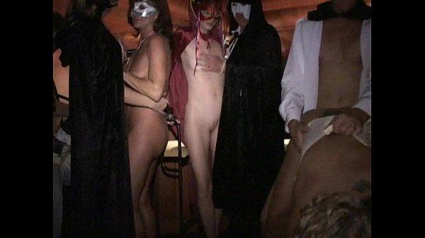 Longest upload Masked leggy MILF fucked hard in group Licks cum off cock
