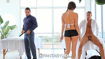 HD FantasyHD - Holly Michaels massages two guys turns into threesome