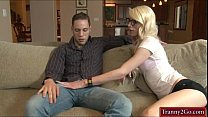 Nerd shemale Holly Parker screwed in ass by horny dude