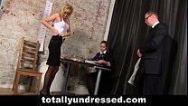 Double dildo test for hot blonde secretary