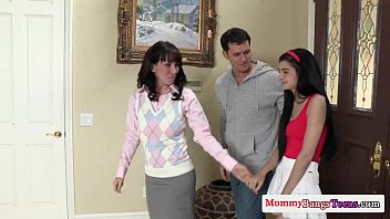 Mature sexteachers threesome with tiny teen