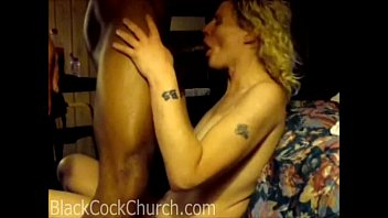 Blonde wife facefucked by a hung black guy
