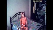 My mom masturbating on bed watching a porno. Hidden cam