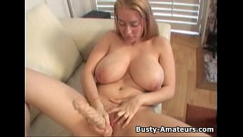 Busty amateur Kalis masturbates her pussy with big toy