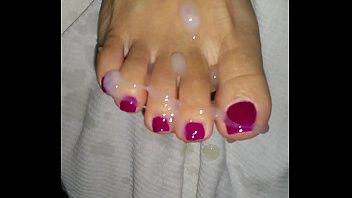 Asian pedicure toes get cumshot.
