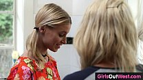 Slim blonde lesbian babes lick each other in the kitchen