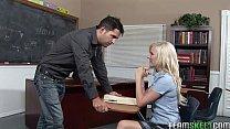blonde schoolgirl Elaine fucking her prof in the classroom
