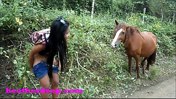 (Onlyfans.com/heatherdeep) Heather Deep 4 wheeling on scary fast quad and Peeing next to horses in the jungle youtube version