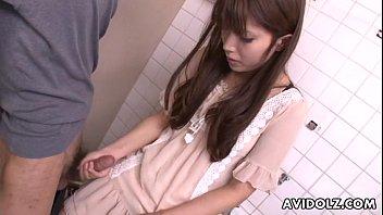 Asian teen jerking on the strangers cock in bathroom