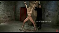 Sex slave tied very tight gets spanking and rough fucking in bondage fetish sex