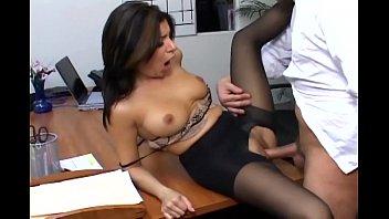 Busty secretary in sheer pantyhose has office sex