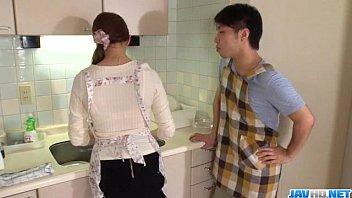 Wife Rina Koda gets busy with three hungry cocks