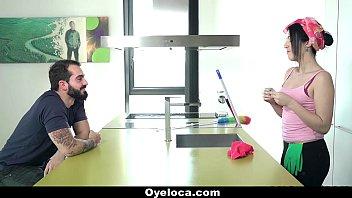 OyeLoca - Latina Cleaner (Liz Rainbow) Cleans House And Cock!