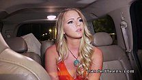 Blonde college hitchhiker bangs outdoor