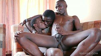 Black African Twink Bareback Threesome