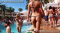 Candid teen blonde in skimpy sexy thong bikini almost naked
