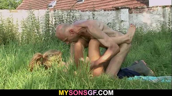 Old man is helping her cum