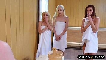 Three teen hotties share a hard monstercock in a sauna 6 min