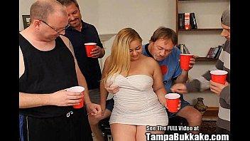 Chubby Blonde Cum Swallower Bukkake GangBang