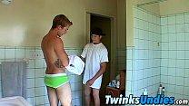 Twink couple wrestling in their underwear