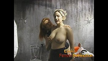 Kinky blonde has her massive tits tied up and squeezed