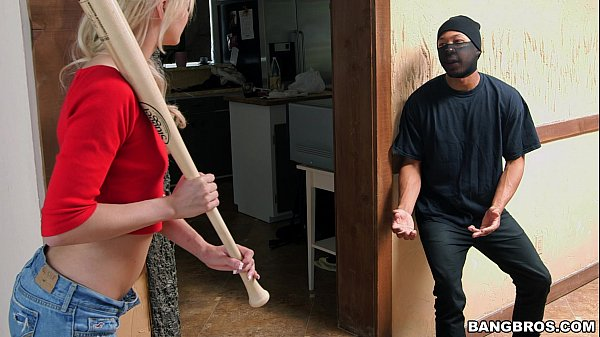 Tiny Blonde Sucks Off Intruder