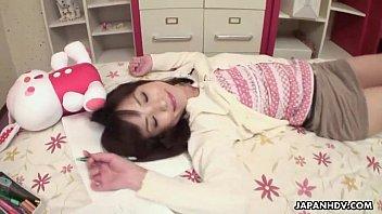 Asian schoolgirl has a break so she masturbates