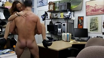 College Student Bimbo Putting Out On Desk In Pawn Shop