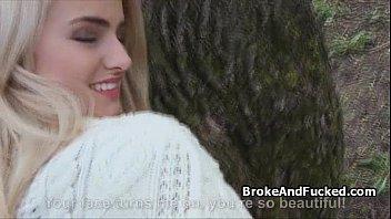 Blonde teen fucks for cash in park