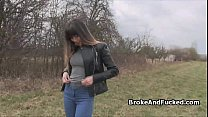 Riding broke amateur pussy in forest
