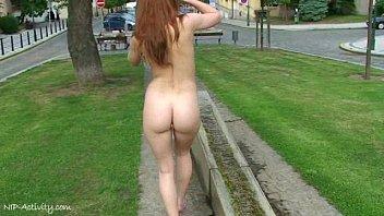 Hot redhead denisa naked on public streets