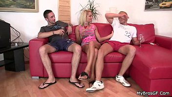 He finds her riding his bro's cock
