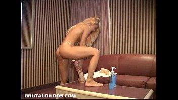 Amateur petite Quebec blonde brutalized by huge dildos