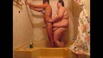 Hot Sissy Fucks Girlfriend In Shower & Creampie Her Fat Pussy