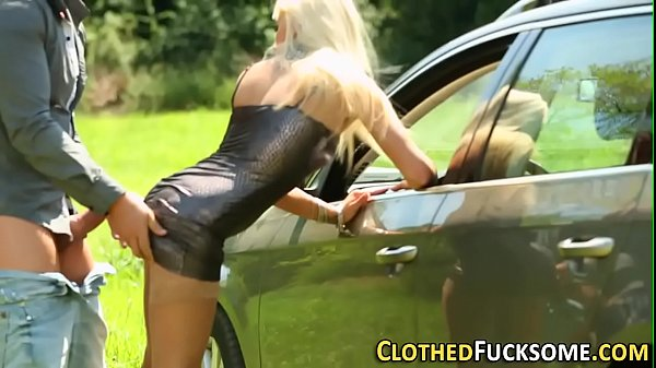 Clothed slut gets fucked