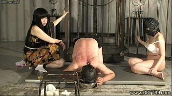 Two Japanese femdom Kyouka with black hair train slave