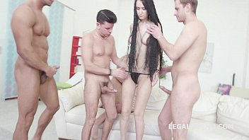 7on1 Angie Moon GangBang with Triple anal, prolapse and 7 facials!