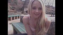 Hot Blond Teen Fucks Herself At Public Monument  - PornAero.com