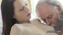Cuddly college girl gets tempted and pounded by her aged instructor