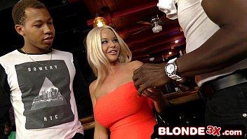 Dumb Busty Blonde Rachele Richey Drops to Her Knees & Deepthroats 13 Black Cocks