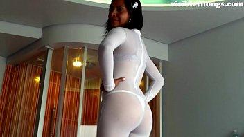 See-through leggings visible thong booty 9