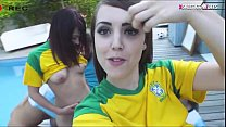 Naughty teen besties giving a nice sloppy blowjob and get fucked by their soccer coach by the poolside outdoors
