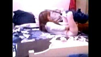 Hidden cam caught my sister masturbating on bed