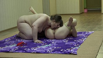 A fat lesbian sniffs panties and licks her girlfriend pussy.