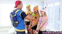 Pokemon Go XXX parody with three awesome teen chicks