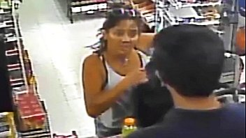 Hot Woman Flashes Boobs at Cashier Short on Cash